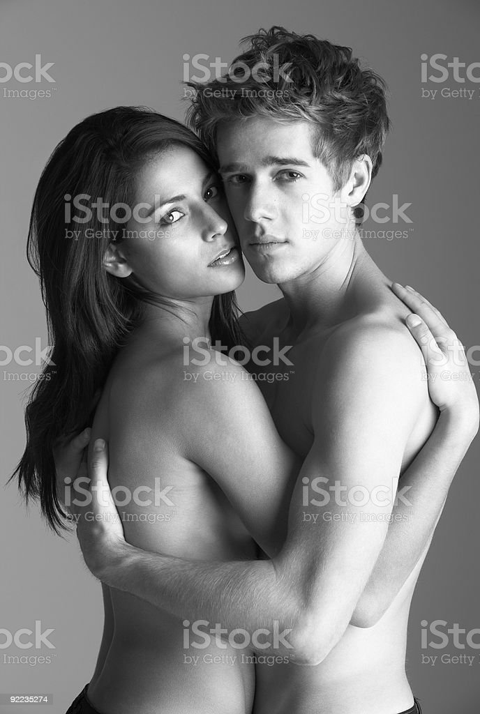 Naked Young Couple Embracing royalty-free stock photo