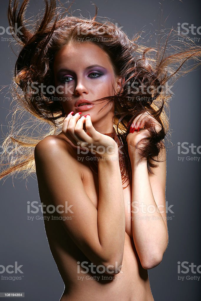 Naked Young Woman Posing, Low key royalty-free stock photo