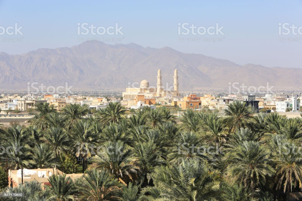 Nakhal village and oasis, Oman stock photo