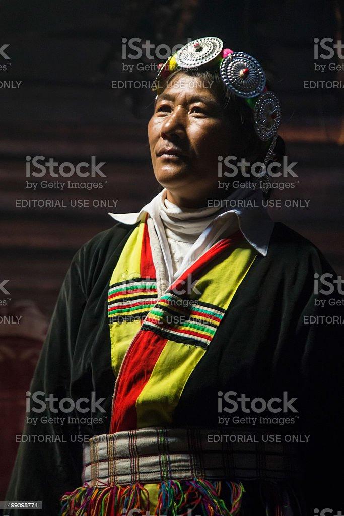 Nakhi traditional clothing stock photo