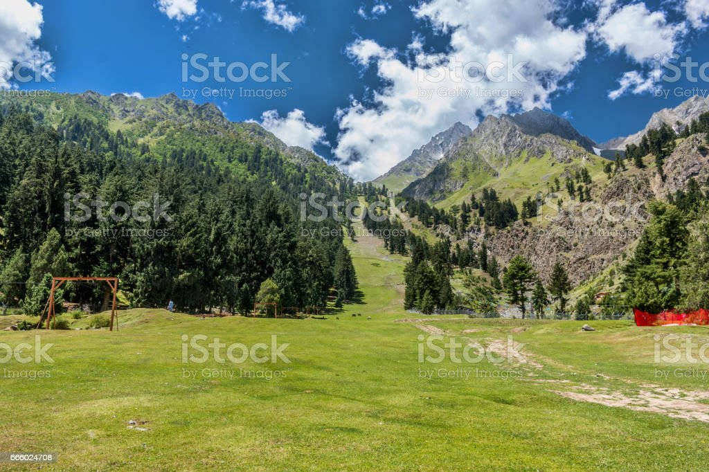 Naltar ski resort stock photo