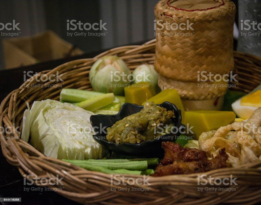 Nam Prik Num' Northern Thai Green Chilli Dip with vegetable stock photo