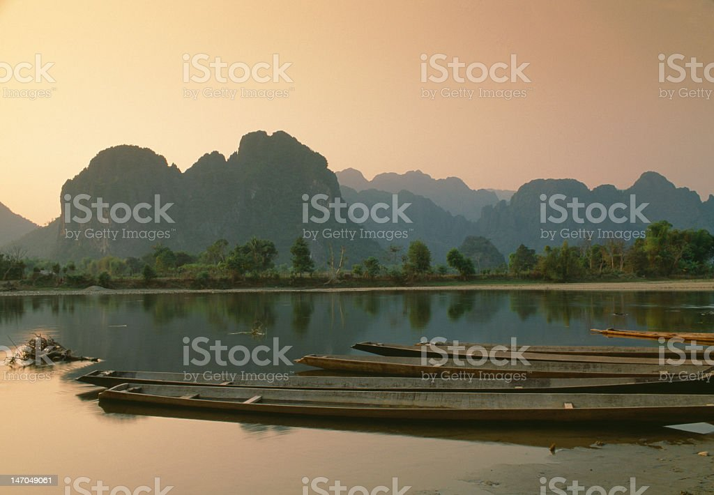 Nam Song river at sunset, Vang Vieng, Laos stock photo