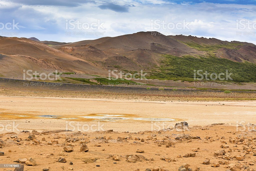 Namafjall, a Geothermal Area with Sulfur Fields in Iceland royalty-free stock photo