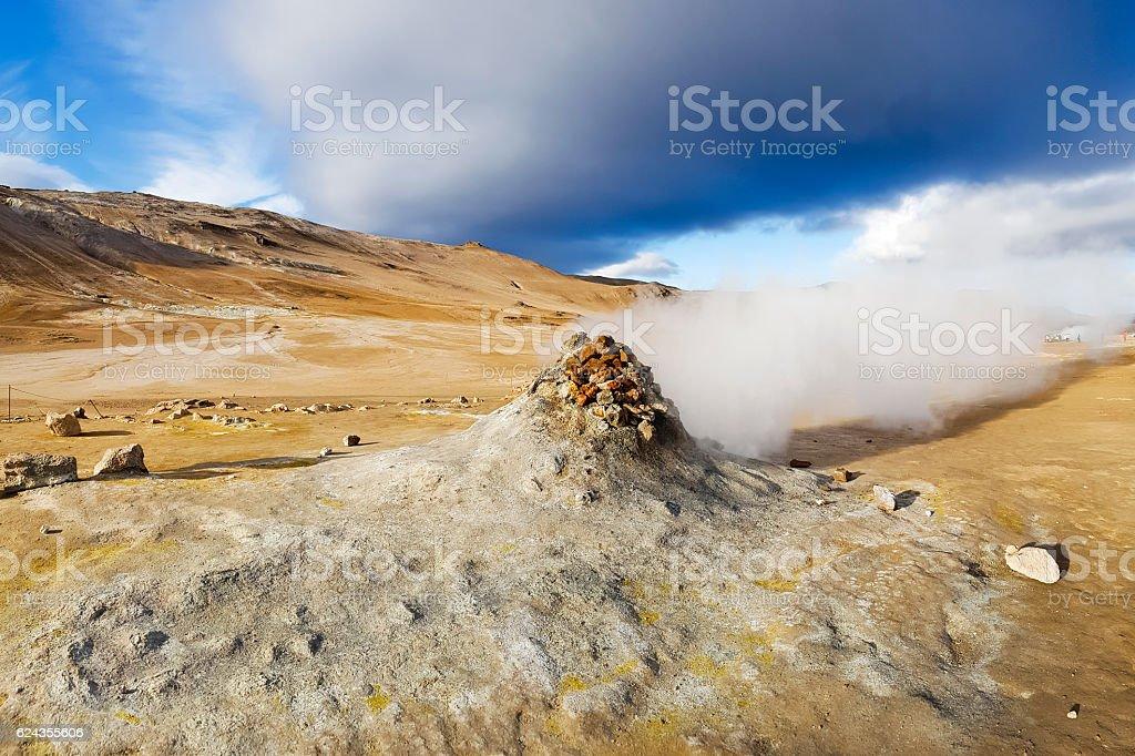 Namafjall Hverir sulphur mud hot pots on iceland stock photo