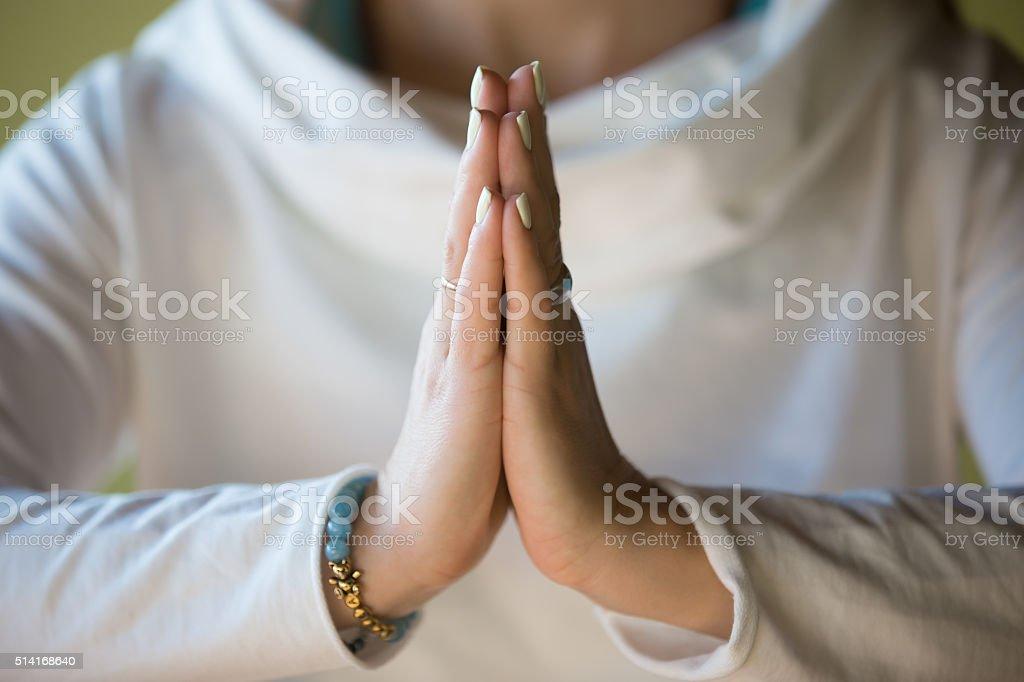 Namaste, close-up stock photo