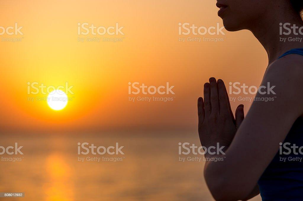 Namaste gesture stock photo