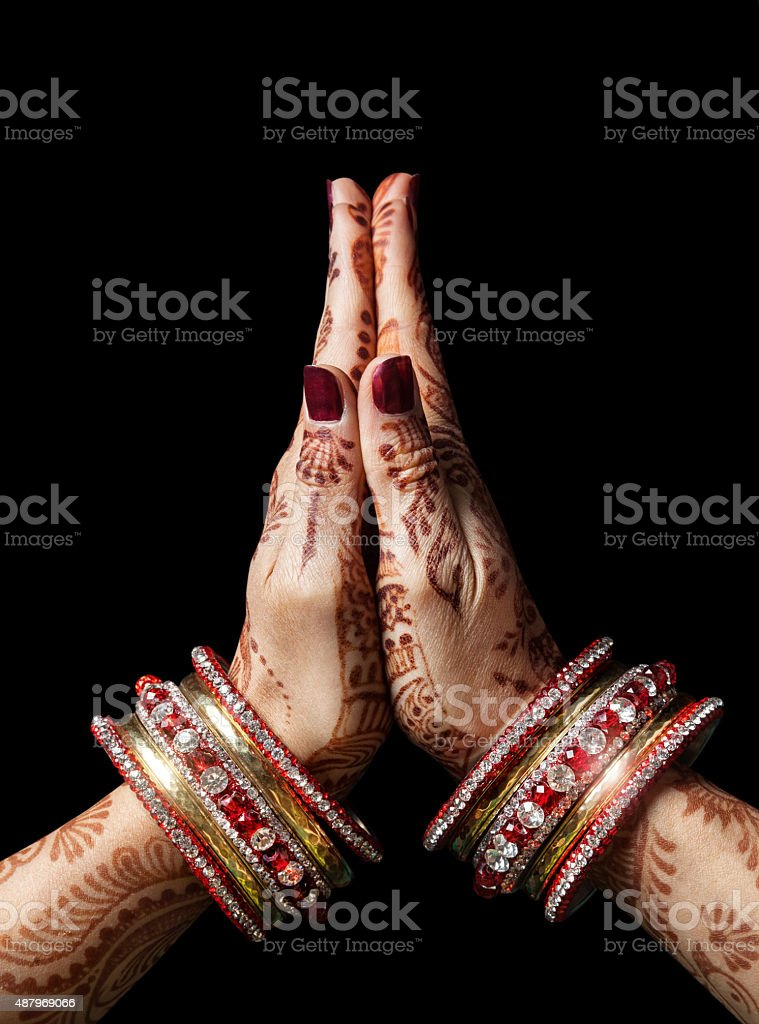 Namaste mudra stock photo