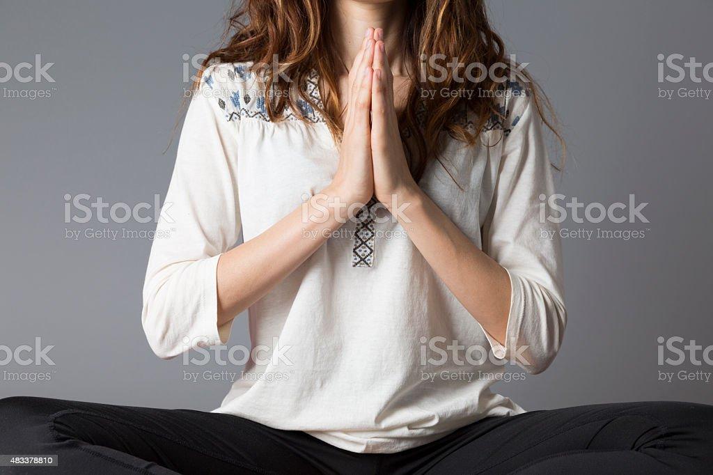 Namaste woman stock photo