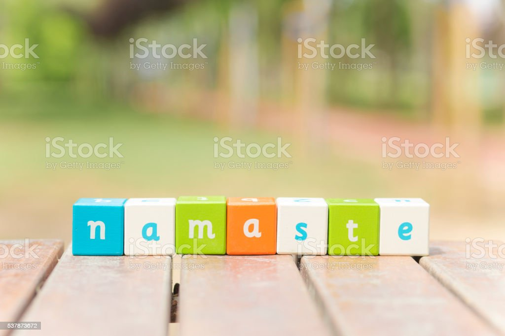 Namaste, word stock photo