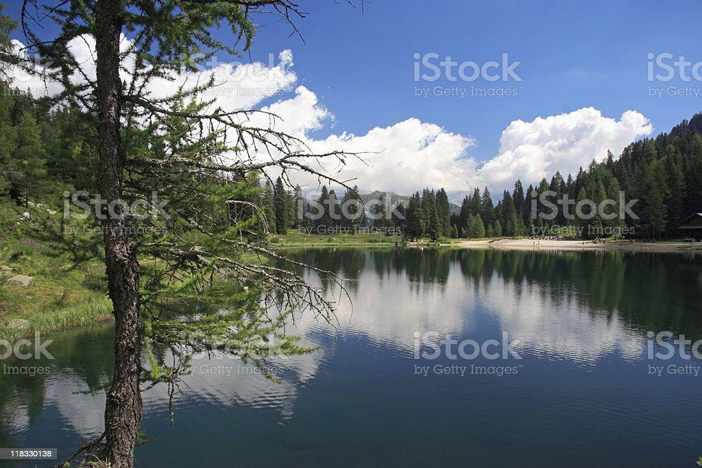 Nambino lake in the Dolomites mountains stock photo