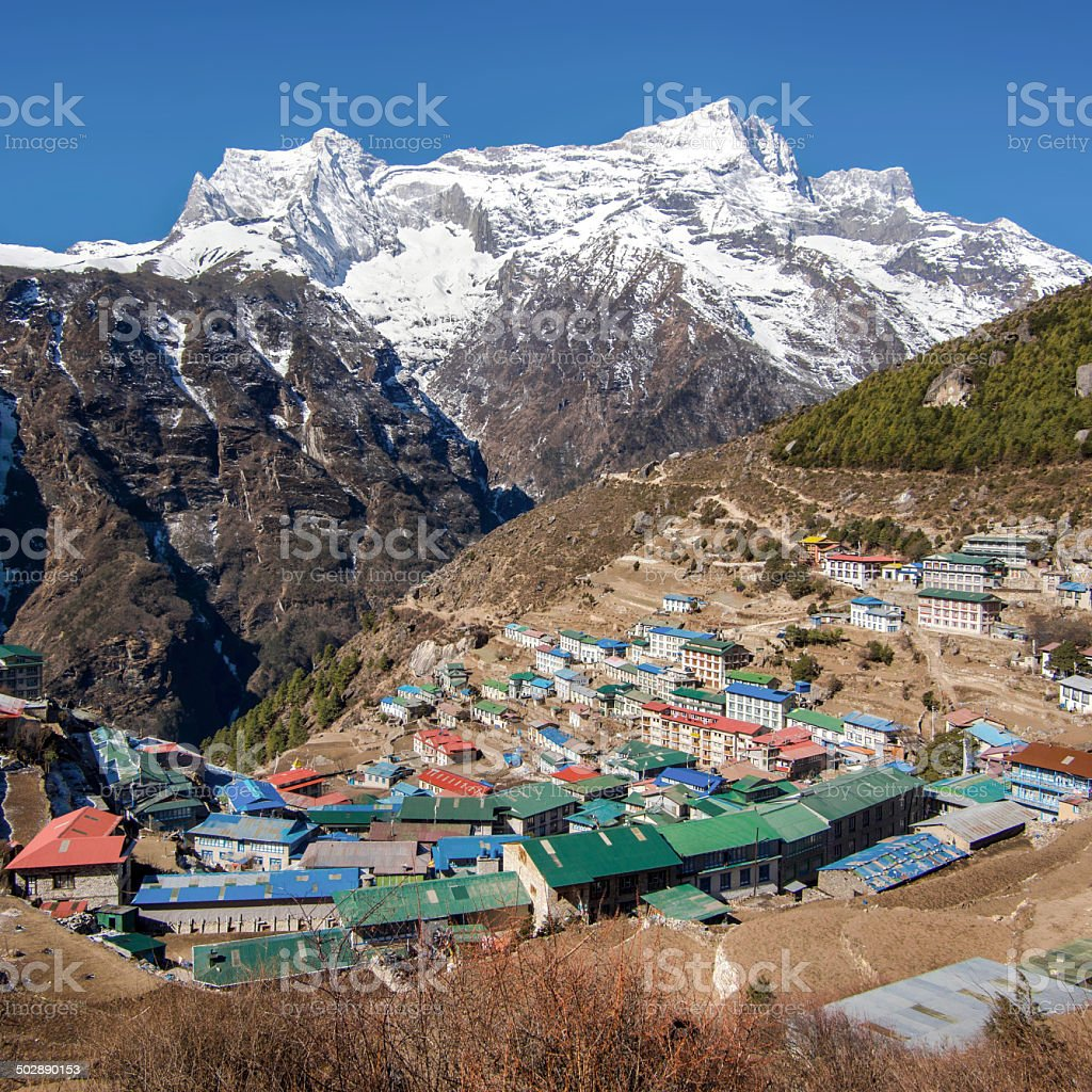 Namche Bazaar, Everest Region, Nepal stock photo
