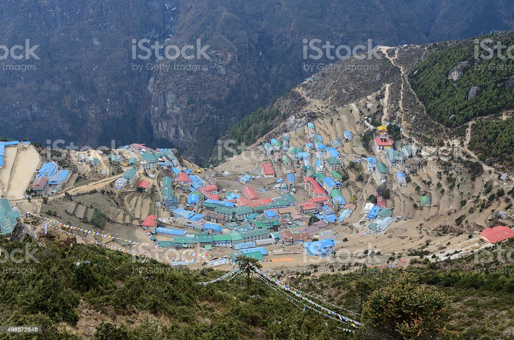 Namche Bazaar high-mountain village view,capital of sherpa people stock photo