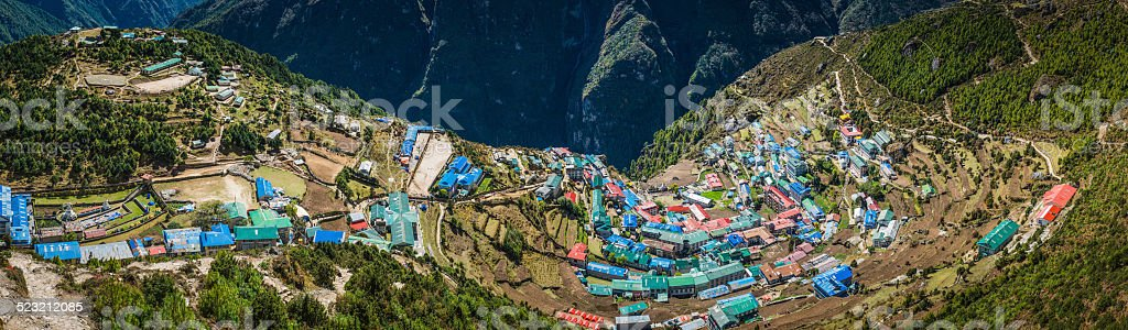 Namche Bazaar iconic Sherpa village high in Himalaya mountains Nepal stock photo