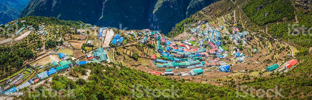 Namche Bazaar iconic Sherpa village trading post teahouses Himalayas Nepal stock photo