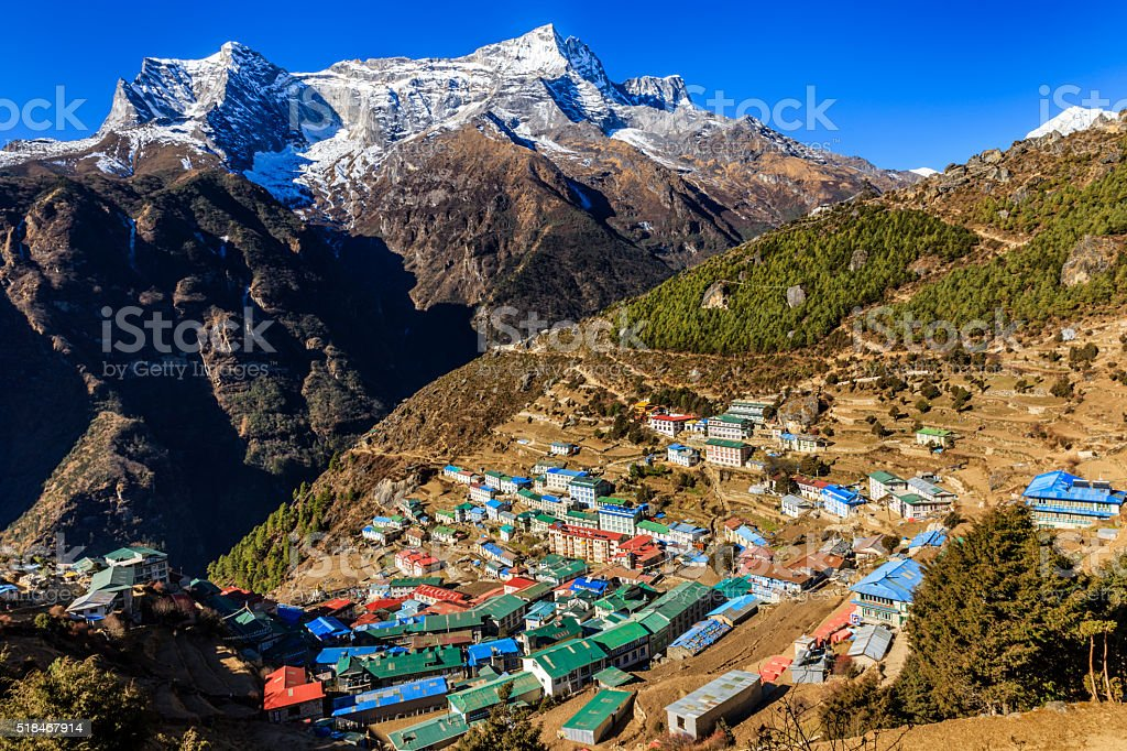 Namche Bazaar is a famous village in Himalayas, Nepal stock photo