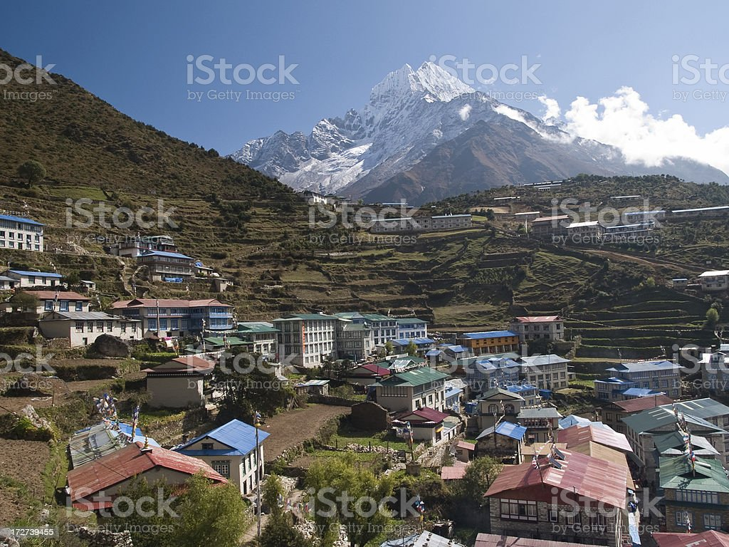 Namche Bazaar, Nepal, Himalaya stock photo