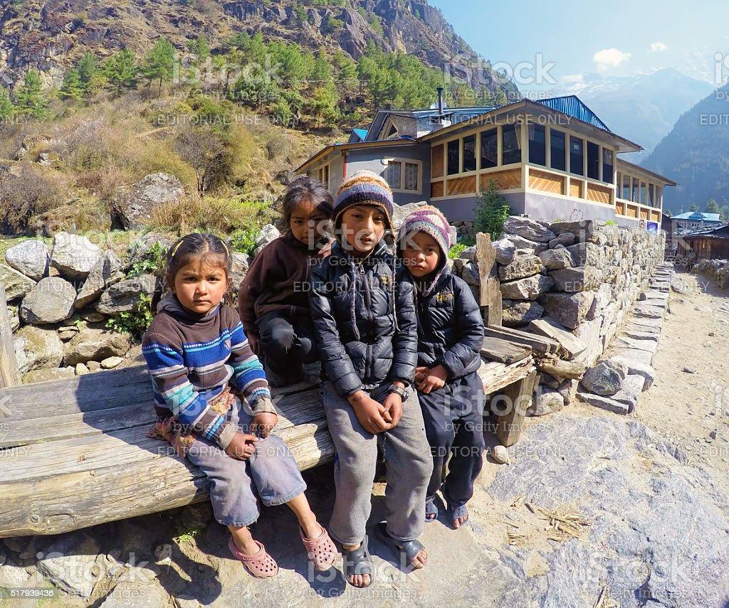 Namche Bazaar, Nepal - January 29, 2014, Nepalese children stock photo