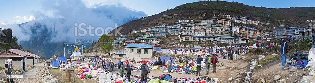 Namche Bazaar Sherpa village Tibertan market panorama Himalayas Nepal royalty-free stock photo