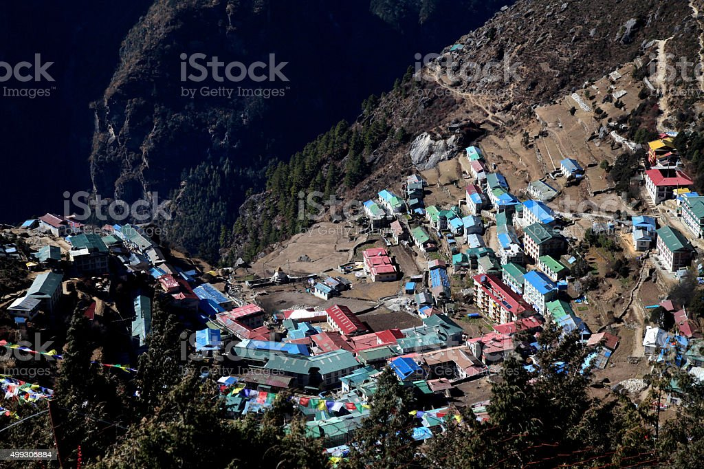 Namche Bazaar view from top of Syangboche village stock photo