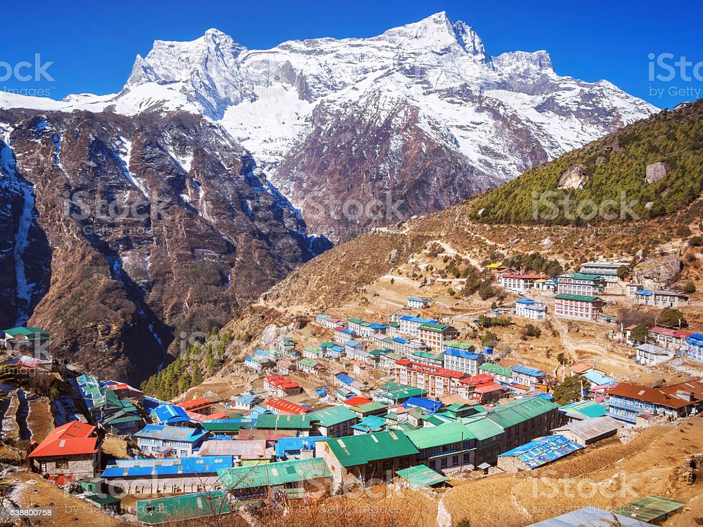 Namche Bazaar Village, Everest Region, Nepal Himalaya stock photo