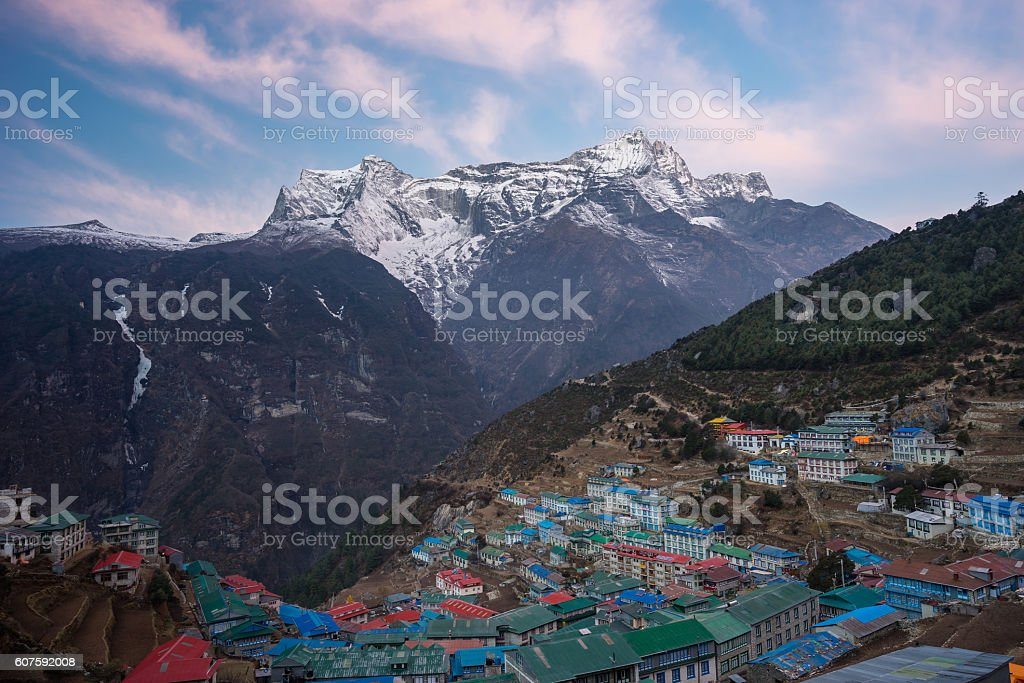 Namche Bazaar village in the morning stock photo