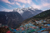 Namche Bazaar village in the morning