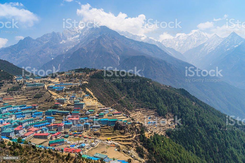 Namche Bazaar village with Thamserku mountain background, Everes stock photo