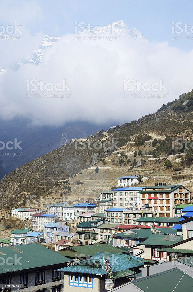Namche Bazaar village,capital of sherpa people, Everest region, Nepal royalty-free stock photo