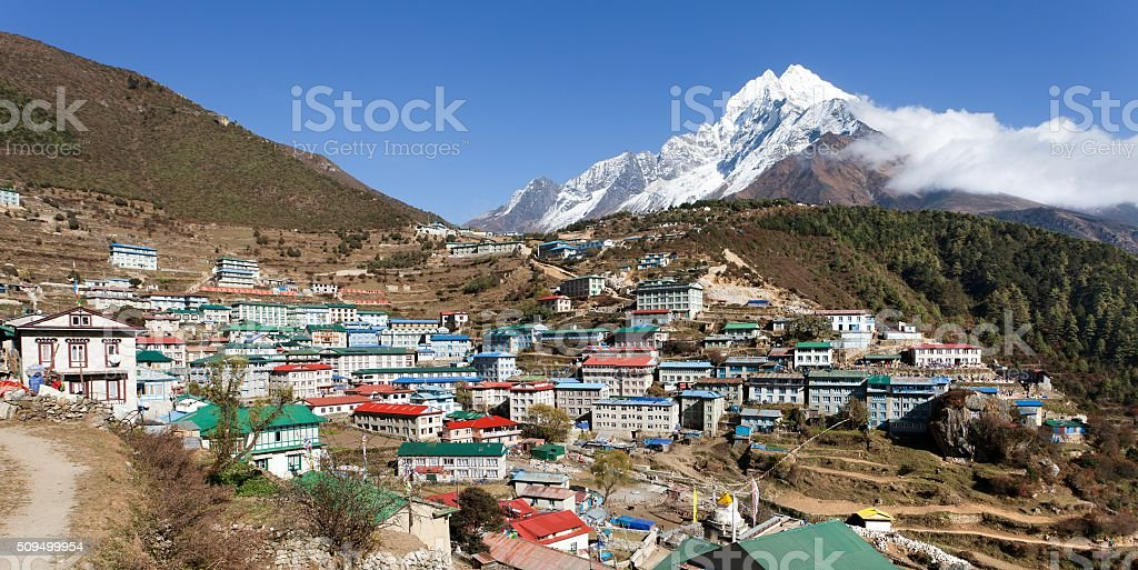 Namche bazar and mount thamserku stock photo