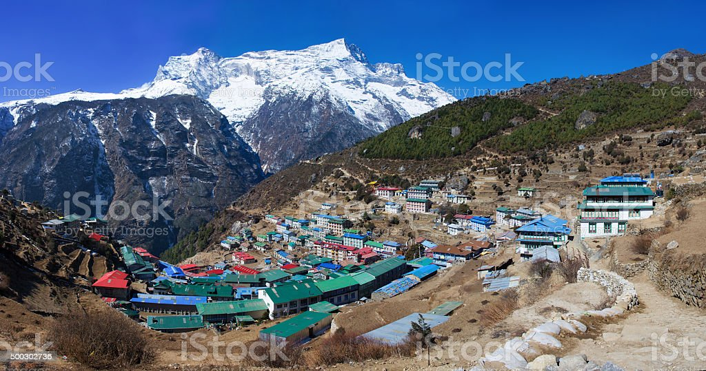 Namche Bazar in Khumbu district, Himalayas, Nepal stock photo