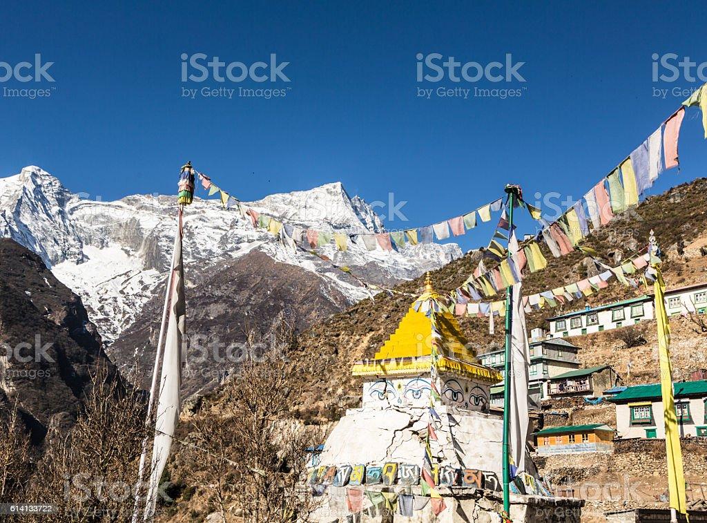 Namche Bazar in Nepal stock photo