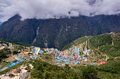 Namche Bazar in sunny day, Khumbu district, Nepal.