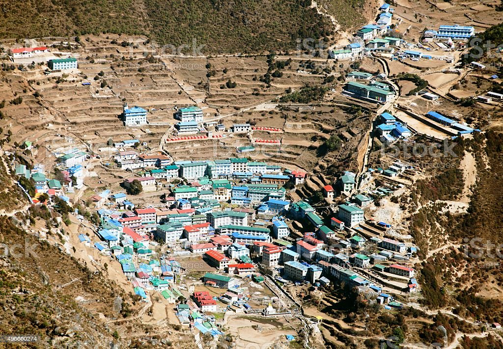 Namche Bazar - Sagarmatha national park stock photo