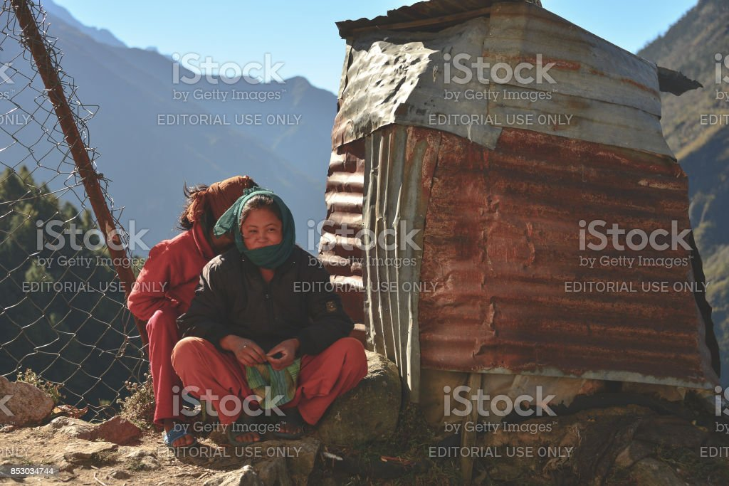 Namche children stock photo