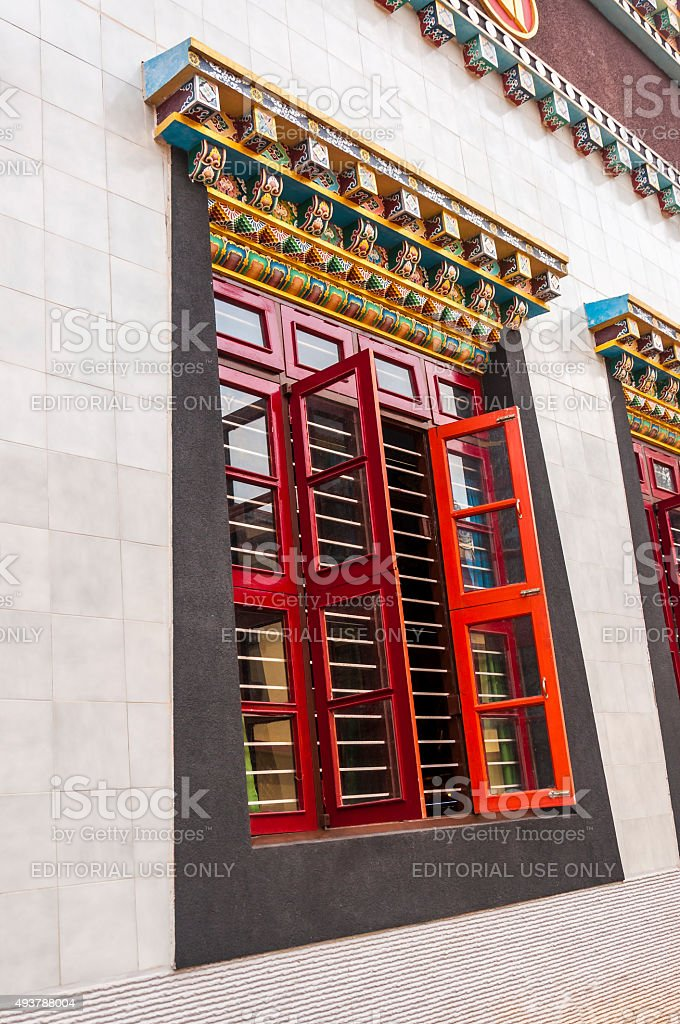 Namdroling Nyingmapa Monastery windows design art stock photo
