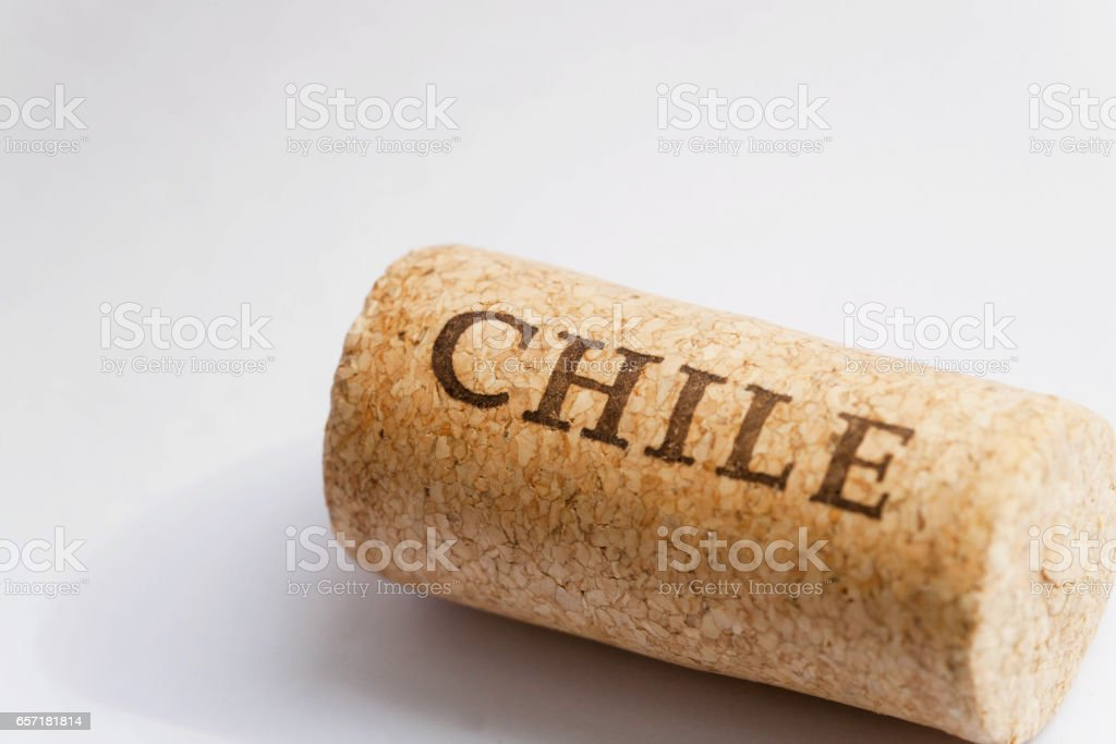 Name of Chile country on surface of cork from the wine. Chile set. stock photo