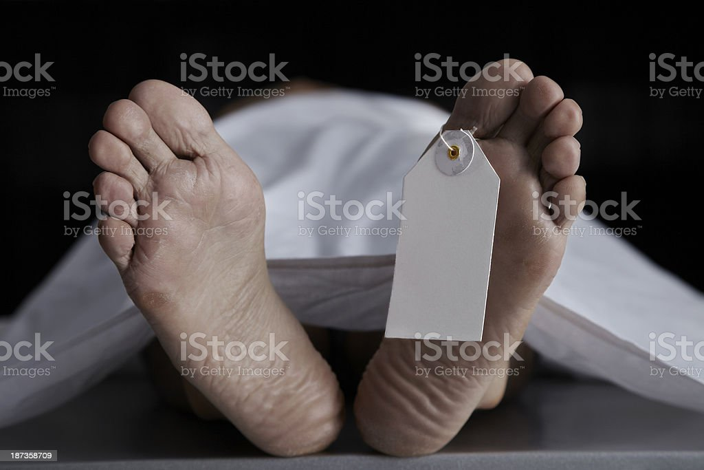 Name Tag Hanging From The Foot Of A Dead Body stock photo