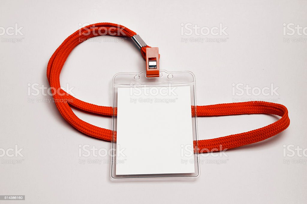 Name Tag Mockup With Lanyard - Stock Image stock photo