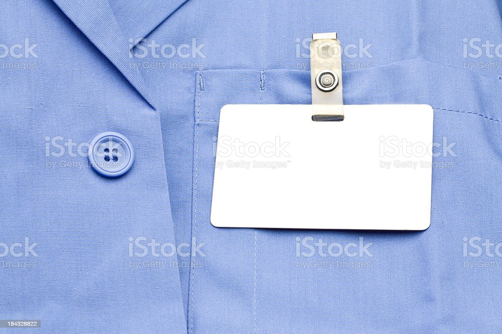 Name Tag on shirt stock photo
