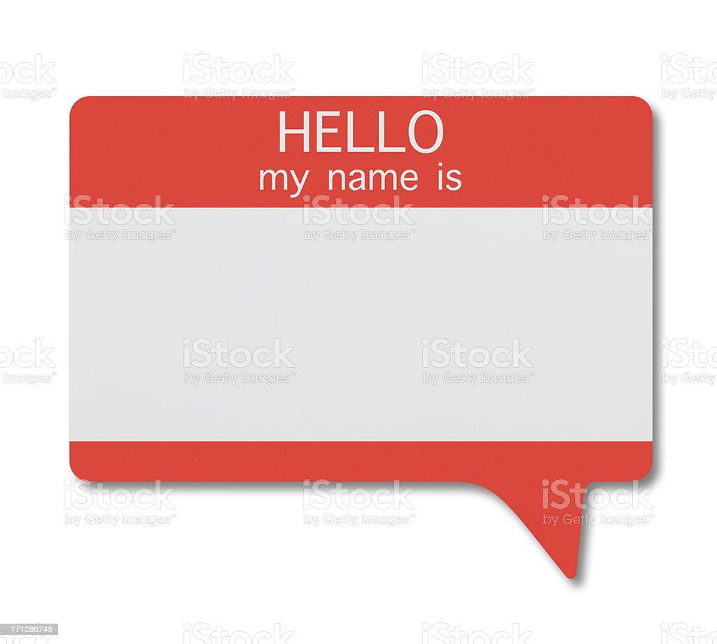 Name Tag(Speech Bubble) stock photo