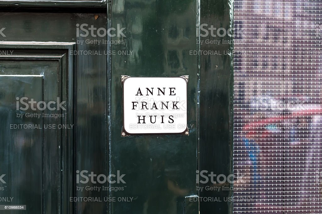 Nameplate Anne Frank House stock photo