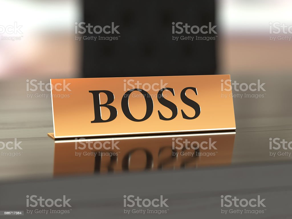 Nameplate with Boss text stock photo