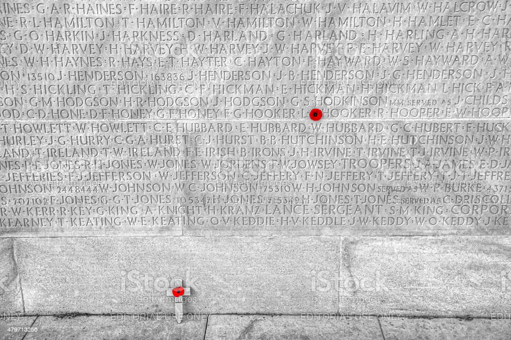 Names of the dead at Vimy Ridge Memorial in France stock photo
