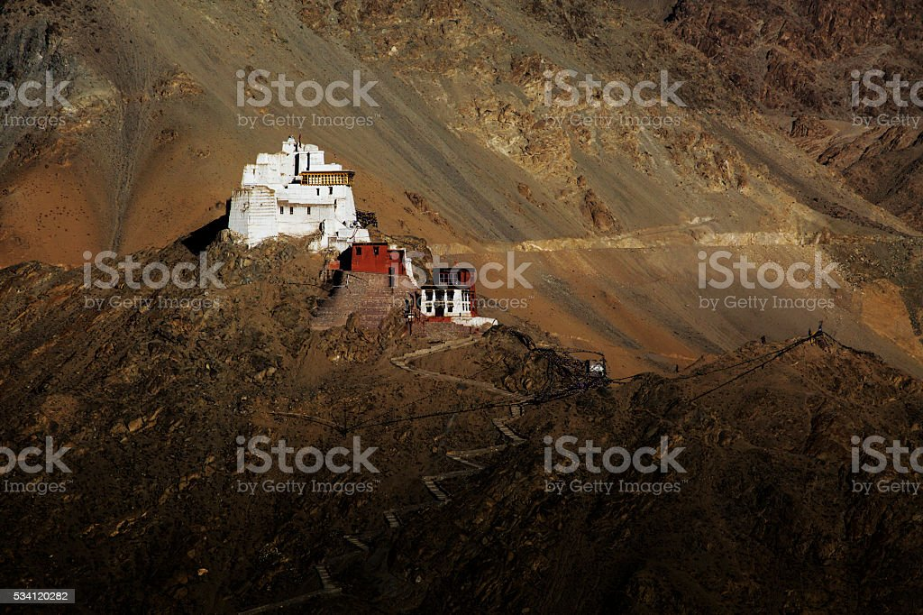 Namgyal or red gompa is main Buddhist centre in Leh. stock photo