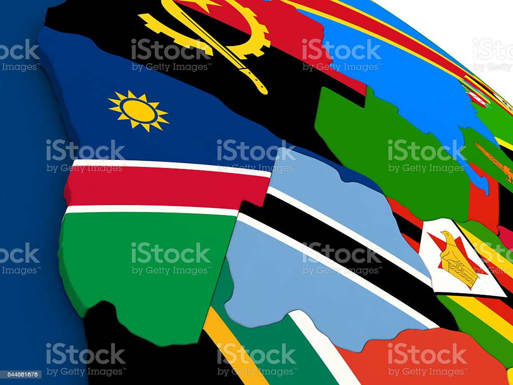 Namibia and Botswana on globe with flags stock photo