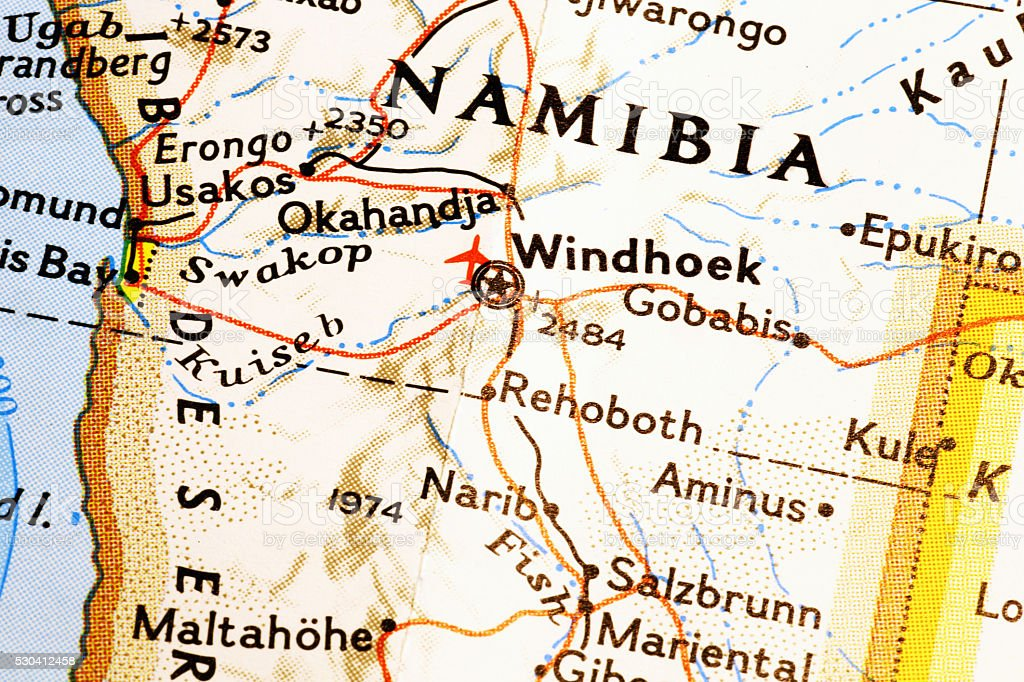 Namibia on a map stock photo