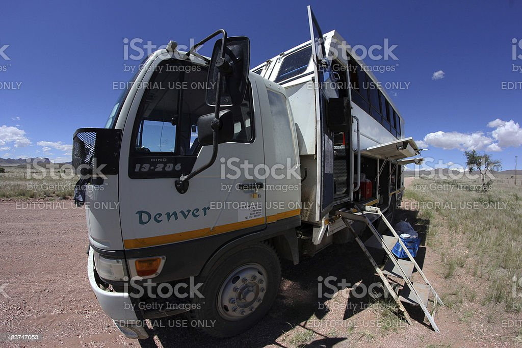 Namibia: Overland Truck at side of road stock photo