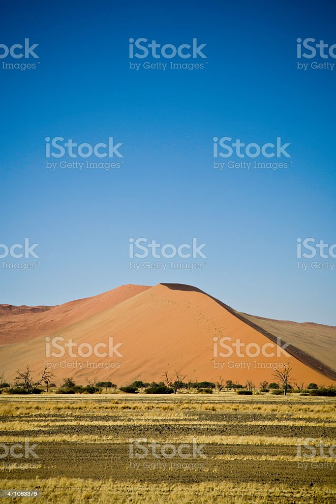 Namibia Sand Dune and Prairie Landscape stock photo