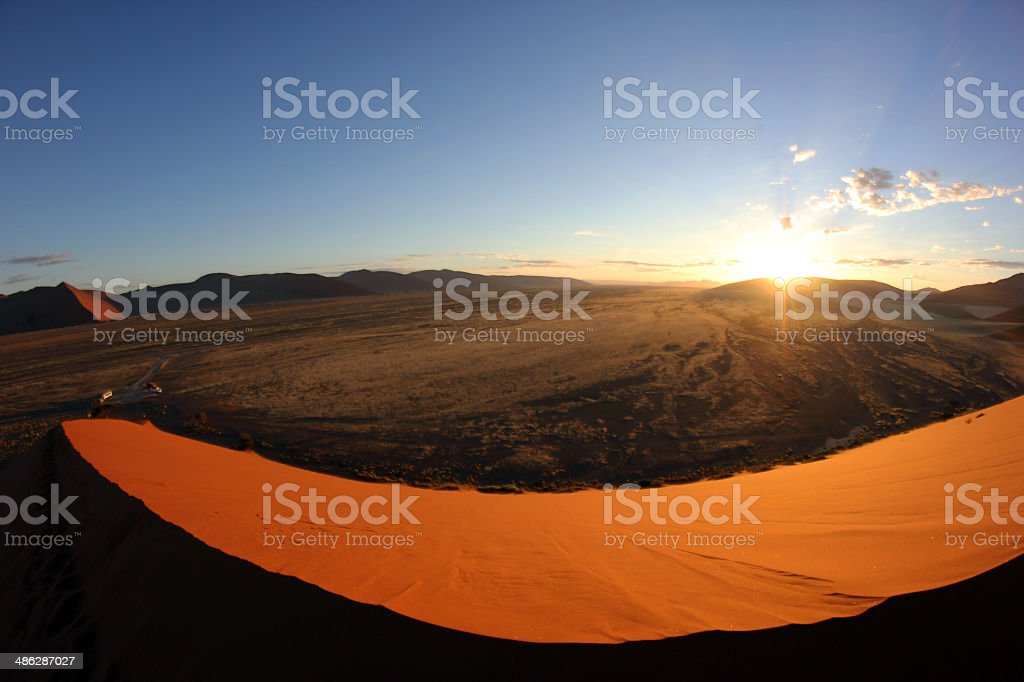 Namibia: View atop Dune 45 in the Namib Desert stock photo